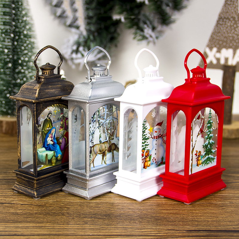 4 Pcs Christmas Electronic Hanging Wind Lantern For Xmas Event Hanging Decoration Elk Snowman Santa Claus Painted Partial Lights