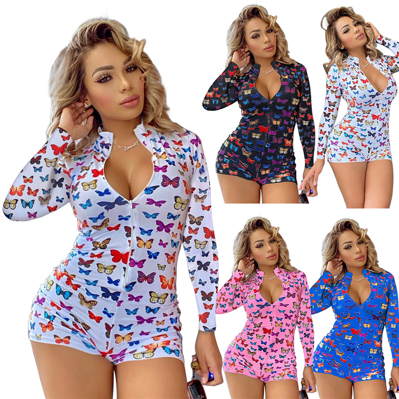 Butterfly Print Long Sleeve Sexy Bodycon Jumpsuit Playsuit Women  Autumn 2021 Zip Up Party Clubwear Slim Romper Jumpsuits Shorts