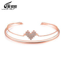 EyeYoYo Female Bangle Rose Gold Copper Cute Heart Cuff Bracelet Women Lovely Gift