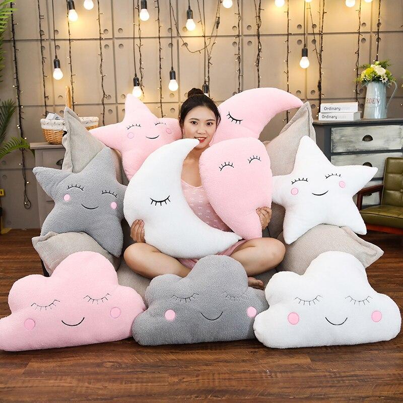 Plush Sky Pillows Sleeping Smile Cloud Star Water Drop Moon Cushion Room Cot Decor Nature Pillow White Pink Grey