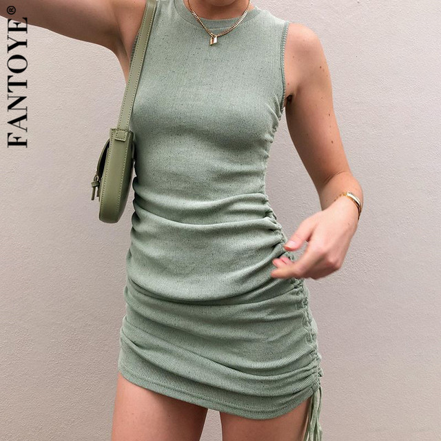 Cotton Ruched Drawstring Sexy Party Dress Women Sleeveless Elastic Mini Dress Vintage Summer Bodycon Club Wear Vestidos 4