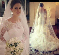 Mermaid White Ivory Wedding Dresses Ruffles Bridal Gowns Long Sleeve Scoop Neck vestidos de novia 2020