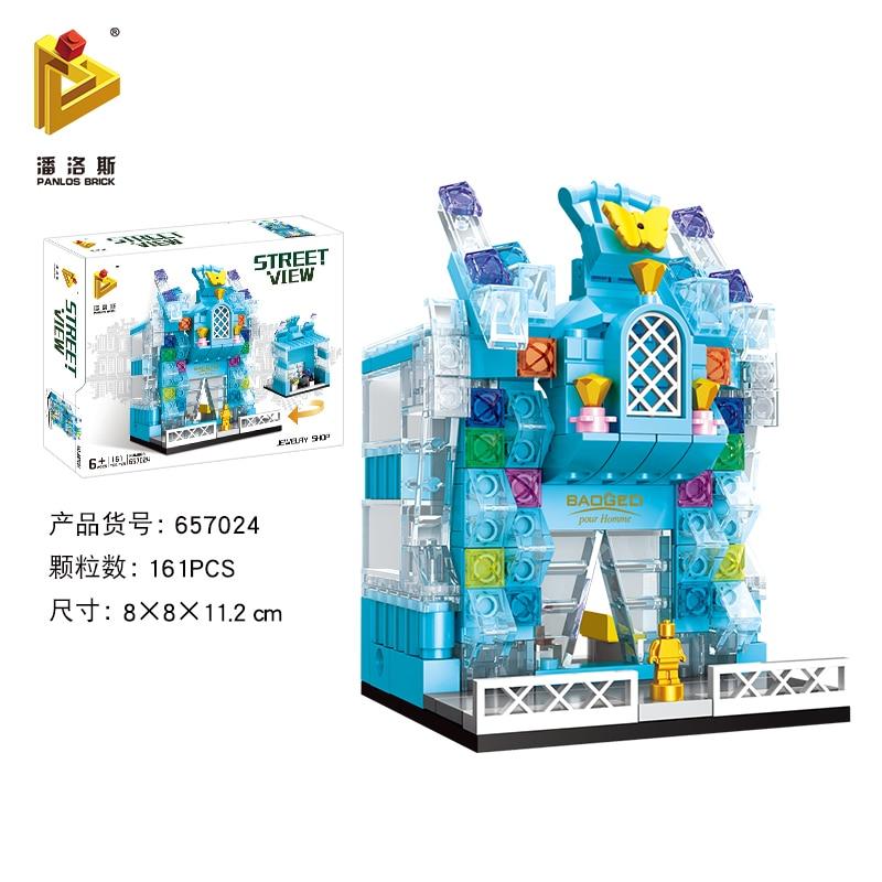 Mini Lego City Street View Block Retail Store Restaurant DIY Building Blocks Compatible lego technic Tech Building kids Toys - Цвет: 657024