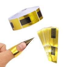 20/50/100 adet fransız tırnak formu İpuçları akrilik UV jel uzatma kıvırmak formu oluşturucu jel Sticker sanat kılavuzu kalıp manikür şablon