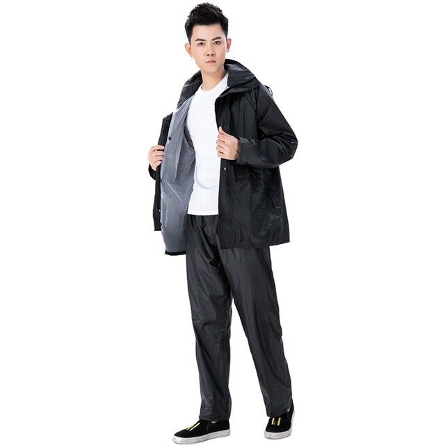 Adults Waterproof Men Raincoat Rain Pants Suit Motorcycle Riding Raincoat Jacket Double Black Rain Coat Clothes Impermeable Gift 2