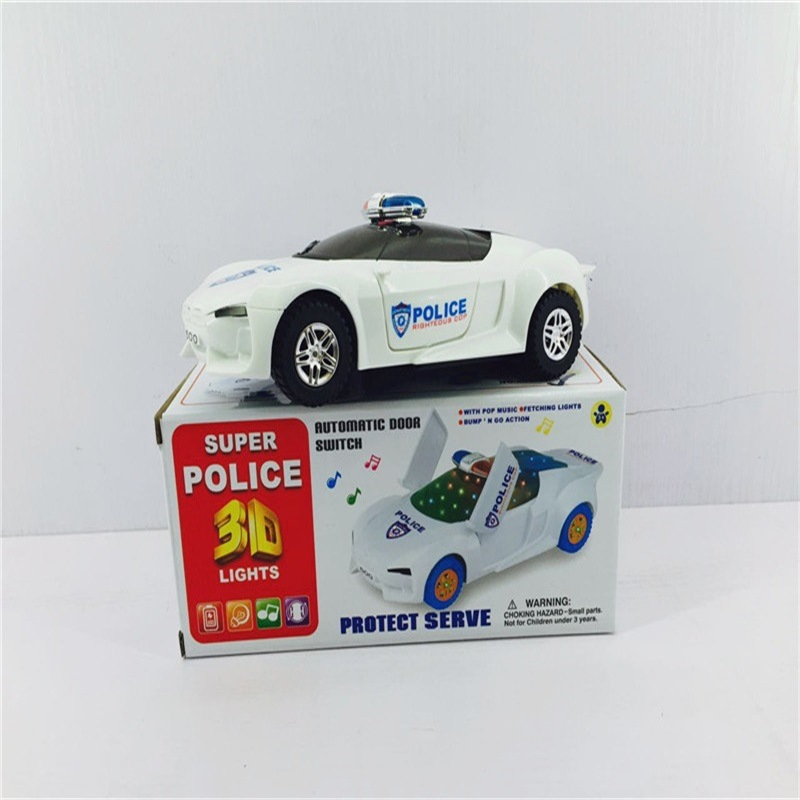 Boy Electric Universal 3D Light And Music Car Model Children Door Opening Police Car Stall Hot Selling Toy Car