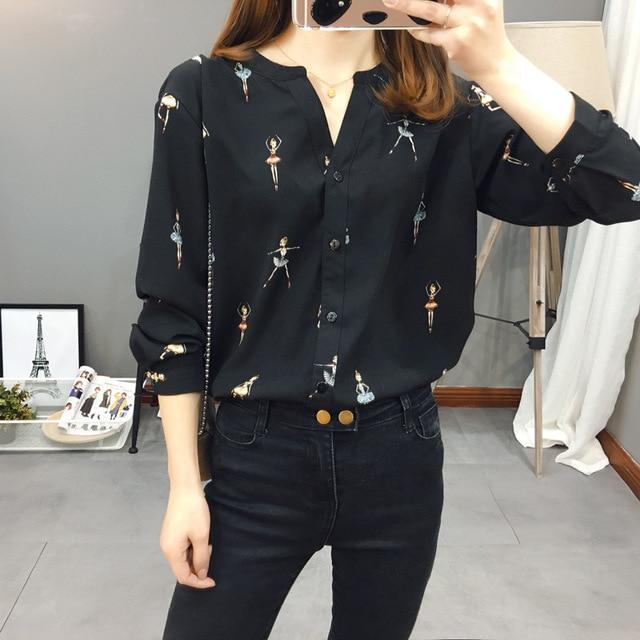 Autumn Korean Style Women Blouse Cartoon Print Ballerina Long Sleeve Cardigan Button Tops Chiffon Shirt Girls New T08503L