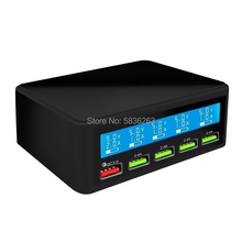 The New QC3.0 Smart Fast Charge 5 Port USB Mobile Phone Charger LCD Display Charging Head 9V2 iPhone Samsung Xiaomi Charger цена 2017