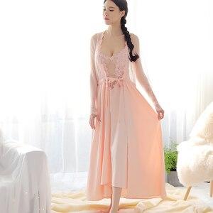 Image 3 - 女性パジャマセクシーなグリーンレースパジャマローブプリンセスドレスネグリジェエレガントなヨーロッパスタイルナイトウェア vestidos