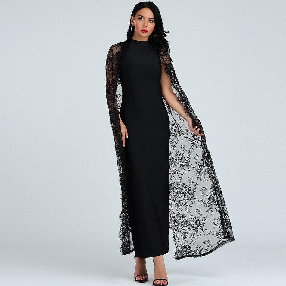 2019 di estate di modo delle nuove donne elegante heise vestito dalla fasciatura O Collo del merletto mantello del manicotto di lunghezza del pavimento Aderente club party dress - 2