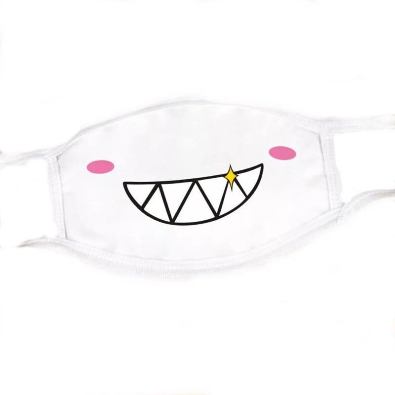 Image 5 - 1PC Cute White Cotton Dustproof Mouth Face Mask Anime Cartoon  Lucky Expression Fashion Women Men Face Mouth Masks Couple MaskMasks