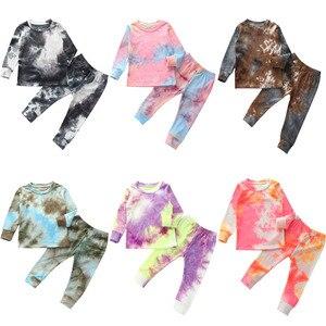 Autumn Toddler Baby Boys Ribbed Knitted Tie Dye Pajamas Sets Long Sleeve T-shirt+Pants Trousers Girls Clothing Sleepwear Pyjamas(China)