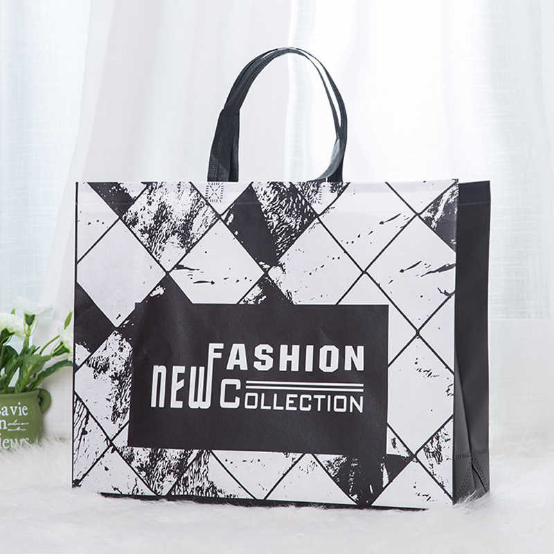 New Fashion Foldable Non-woven Fabric Shopping Bag Reusable Tote Pouch Women Travel Storage Handbag Fashion Shoulder Bag