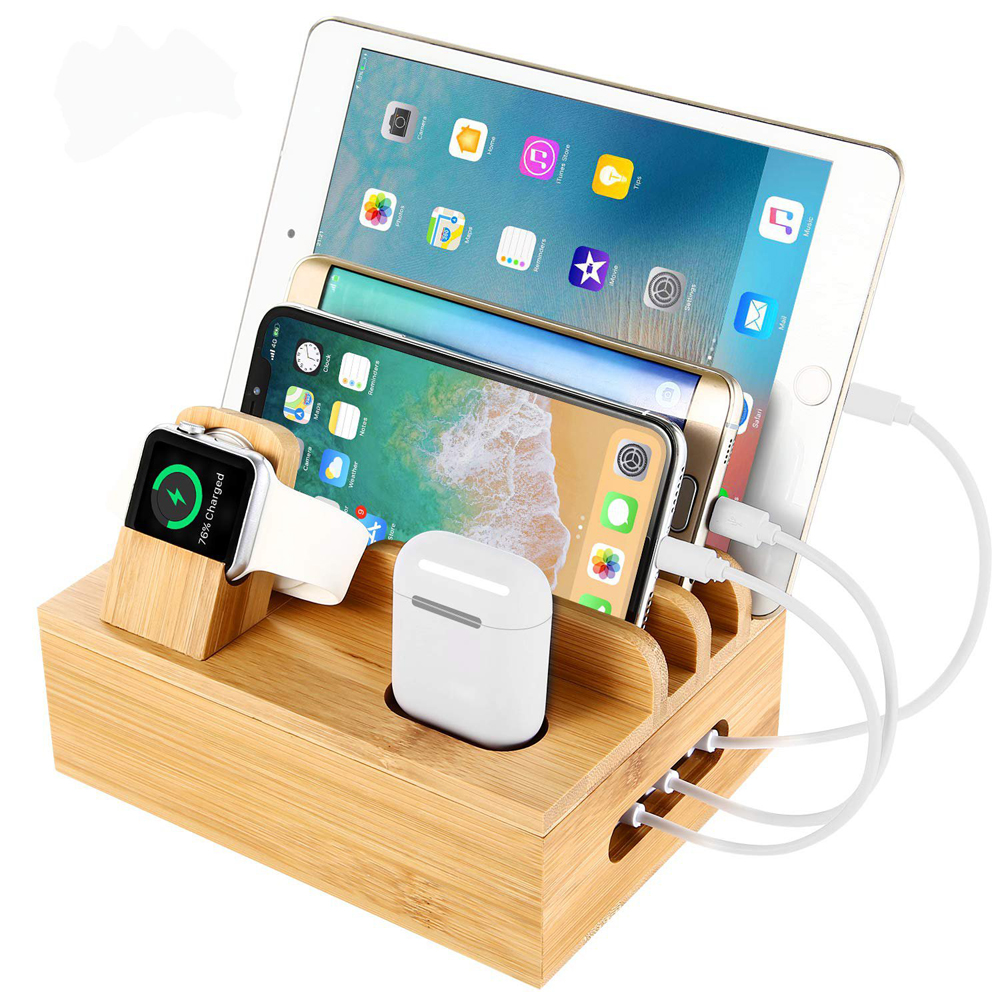 Multifunktionale Handy Halter Stehen Bambus Station Dock <font><b>Desktop</b></font> Docking Station <font><b>Organizer</b></font> Für Telefon Smart Uhr Tablet image
