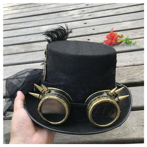 Image 5 - 2019 Fashion Women Handmade Steampunk Top Hat With Gear Glasses and Lace Stage Magic Hat Party Hat Size 57CM Steampunk Hat