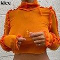 Kliou T-Shirts Solide Ruched Mesh Frauen 2020 Herbst Rollkragen Rüschen Crop Tops Elastische Dünne Tees Weiblich Outfits Mode
