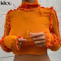 Kliou-camisetas lisas de malla fruncida para mujer, Tops cortos con cuello de tortuga y volantes, camisetas ajustadas elásticas, trajes de moda para mujer 2020