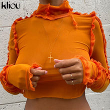 Kliou t-shirts sólido ruched malha feminina 2020 outono gola alta babados colheita topos elástico magro t roupas femininas moda