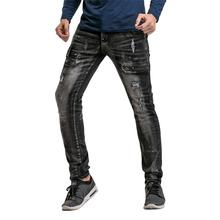 Cloudstyle New Men's Jeans Black Slim Stretch Denim Casual Male Pant Fashion Long Trousers Jean Homme Regular Fit For Youth