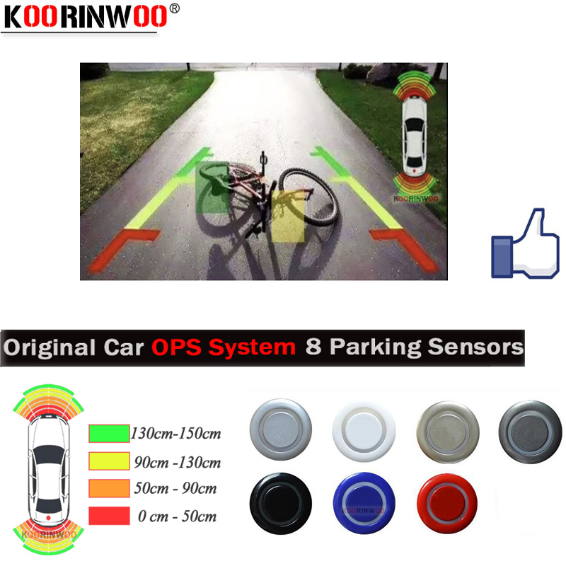 Koorinwoo najnowsze oryginalne Parktronic 8 OPS System wideo samochodowe czujniki parkowania Radar Alarm sonda Buzzer samochód-detektor 4 przód 4 tył
