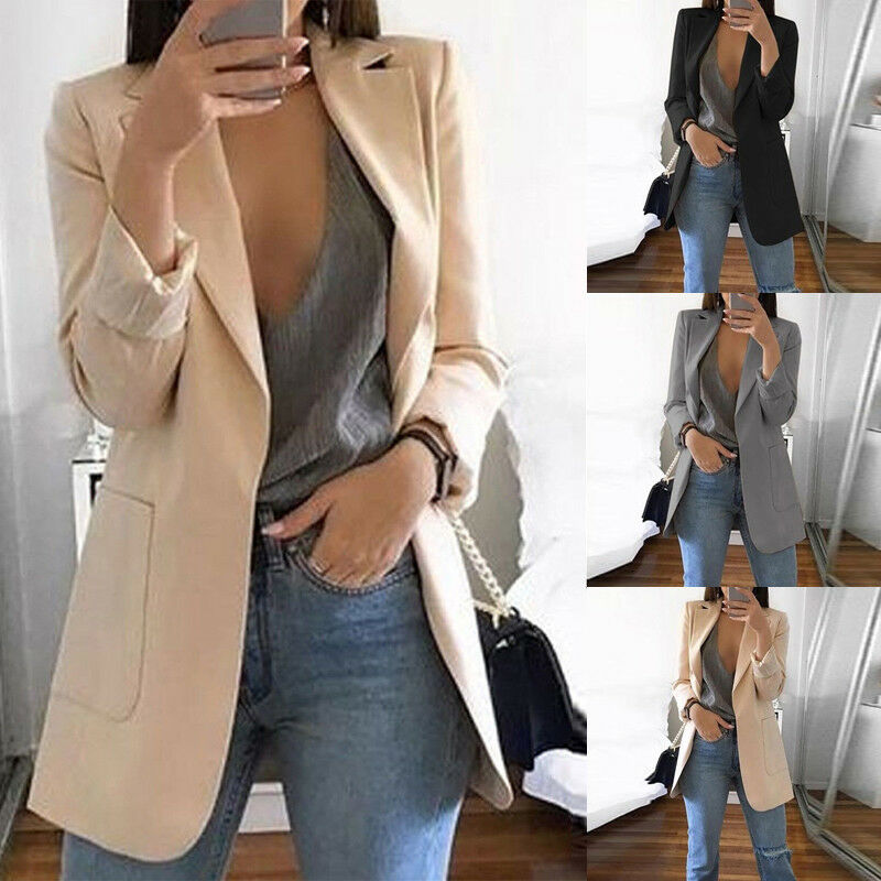 Women Ladies Long Sleeve Slim Blazer Suit Pockets Coat Cardigan Spring Autumn Workout OL Casual Tops Outerwear Blazers