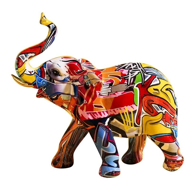 Home Decoration Nordic Creative Colorful Graffiti Elephant Sculpture Animal Statue Creative Ornament Modern Figurines Decoration