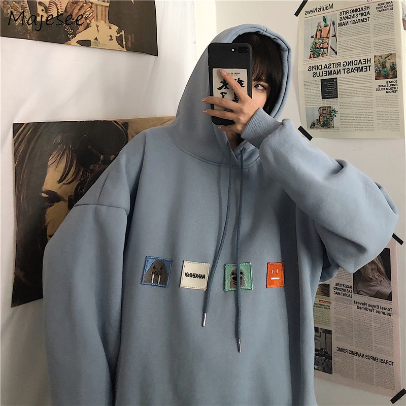 Hoodies Men Loose Oversize Plus Velvet Printed Mens Korean Style Harajuku BF Couples Simple All-match Hooded Students Ulzzang