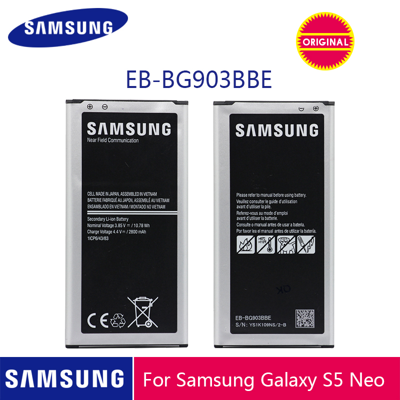 SAMSUNG Original Phone Battery EB BG903BBE 2800mAh For Samsung Galaxy S5 Neo G903F G903M G903H Replacement Batteries with NFC-in Mobile Phone Batteries from Cellphones & Telecommunications on