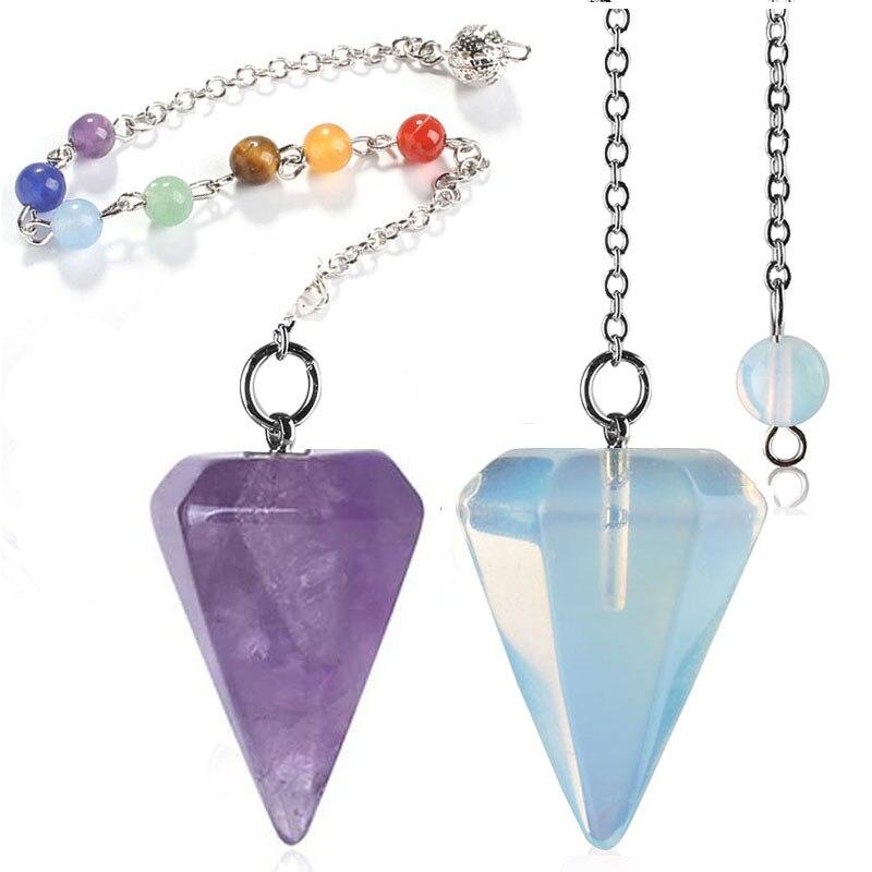 Small Size Stone Pendulum for Dowsing Amethysts Lapis Opal Crystal Cone Healing Chakra Chain Hexagonal Pendants Pendulo Jewelry