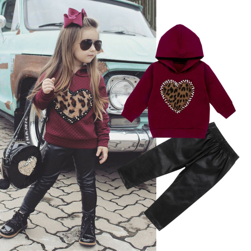 >2PCS Kids Baby Girl winter Warm clothes set long sleeve Leopard heart red Sweater Hooded top black <font><b>leather</b></font> <font><b>Pant</b></font> <font><b>Outfit</b></font> Tracksuit