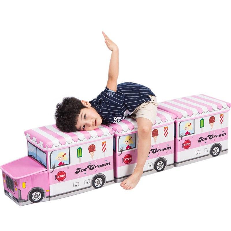 NEW Bus Shape Toys Organizer Children Kids Clothes Toy Storage Bin  Folding Cartoon Car Toy Storage Basket Toys Organizer