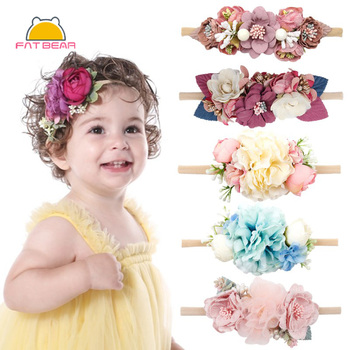 Pearl Baby Headbands Flower For Girls Handmade Bundle Nylon Elastic  Hair Band Baby Hairband Headdress Newborn Hair Accessories