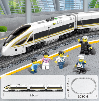 647PCS Plastic Buildingblocks Electrical Highspeed Train Assembling Education toys Blocks Christmas Gift for Children