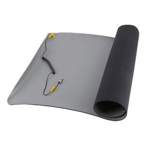 Durável área de trabalho anti estático esteiras aterramento esd silicone 700x500mm + cabo para computador portátil ferramentas reparo