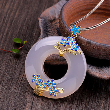 paint plum blossom simple atmosphere fashion S925 pure silver jewelry white jade marrow pendant sweater accessories