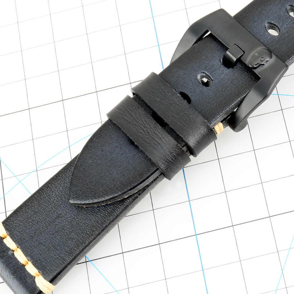 Maikes, accesorios de reloj de cuero de vaca auténtico, correa de reloj de 18mm-26mm, Punk Rock, 4 colores, Calavera, pulsera con hebilla de reloj de acero inoxidable
