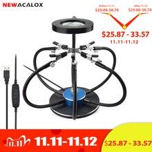 NEWACALOX سبيكة لحام حامل محطة لحام USB 3X عدسة مكبرة LED أضواء 6 قطعة الأسلحة مرنة اليد الثالثة أداة لحام