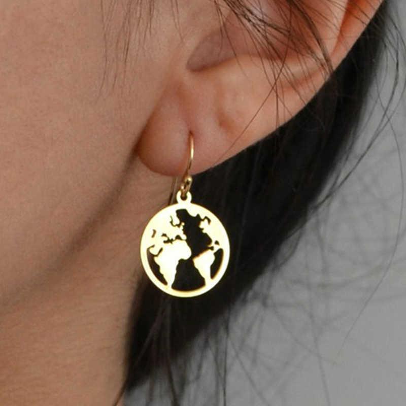 Koreańskie kolczyki para kolczyki Brincos stadniny kolczyki mapa świata proste Lady Gold śliczne kolczyki dla kobiet w sprzedaży hurtowej