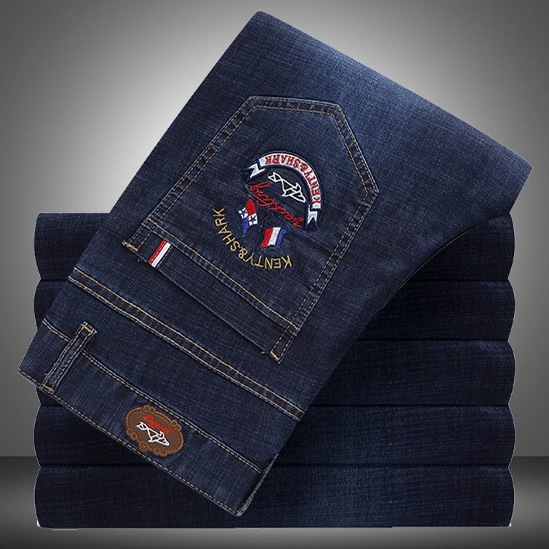 2020 New Male Jeans Trousers Classic Thick Section Business Fashion Pants Elastic Zipper Mens Straight Denim Shark Brand Jeans