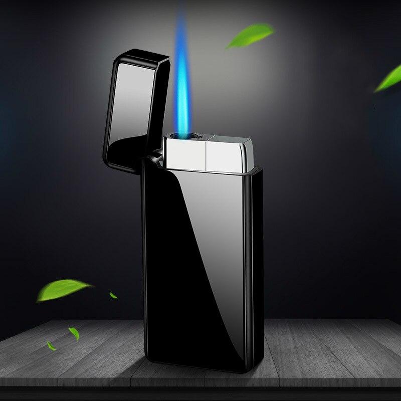 Бутановая газовая зажигалка прямо в зажигалку креативная Мужская ветрозащитная сигаретная зажигалка с синим пламенем большая сигарета ...