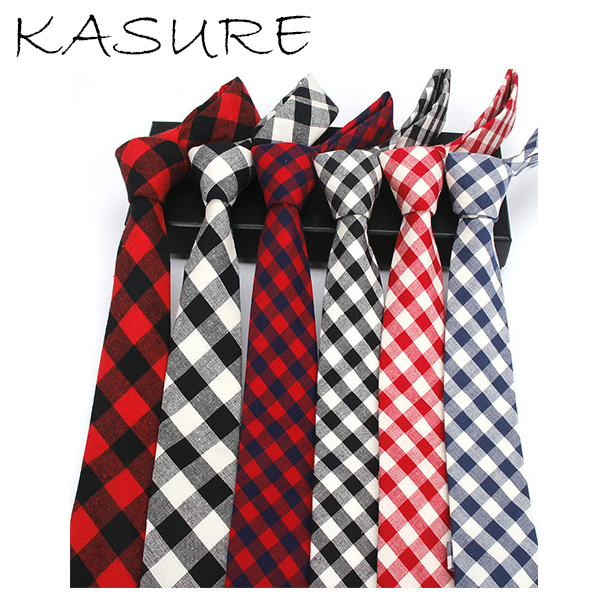 KASURE Fashion Men's Classic Plaid Necktie Casual Tartan Cotton Skinny Slim Ties Narrow Thick Neckties