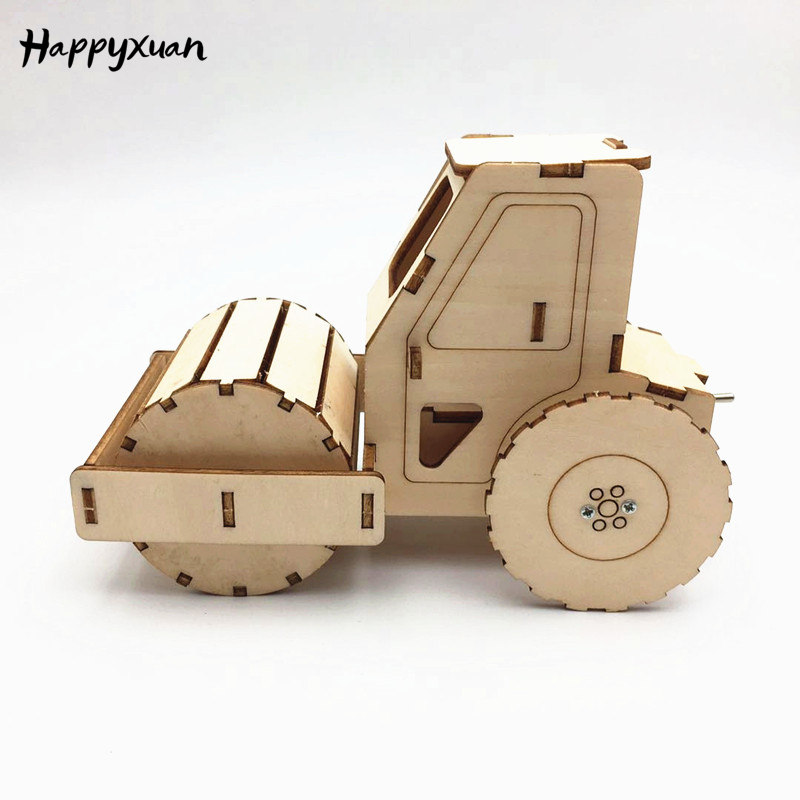 Happyxuan DIY Road Roller Science Engineering Construction Kits Wood STEAM Toy Kids Creative Educational Toys School Projects