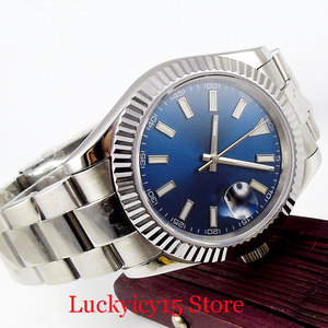 40mm Luxury Blue Sterile Dial Date Function Stainless Steel Strap Sapphire Glass Luminous Hand MIYOTA Movement