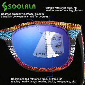 Image 2 - SOOLALA Multifocus Progressive Anti Blue Light Reading Glasses Women Men Near Far Sight Woodgrain Hyperopia Reading Glasses