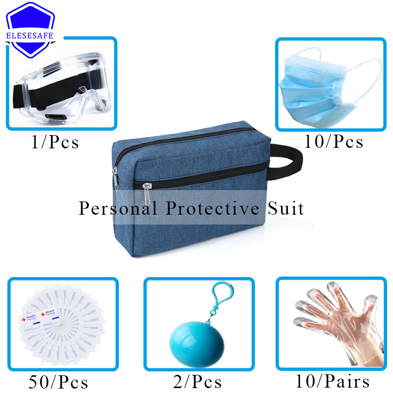 Personal Protective Suit First Aid Kit Portable Multi Function Bag Safety Mask Glasses Gloves Clothing Home Outdoor Travel