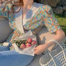 Camisas De Mujer dulce coreano estudiantes De estilo pijo De verano acogedor encaje Floral Cultivo De Mujer De Moda Mujer cuello en V Casual Hipster Simple
