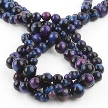 цена Natural Stone Gem Multicolor Purple Tiger Eye Beads Top quality Loose Spacer Beads For Jewelry Making DIY Men Bracelets 6 8 10mm онлайн в 2017 году