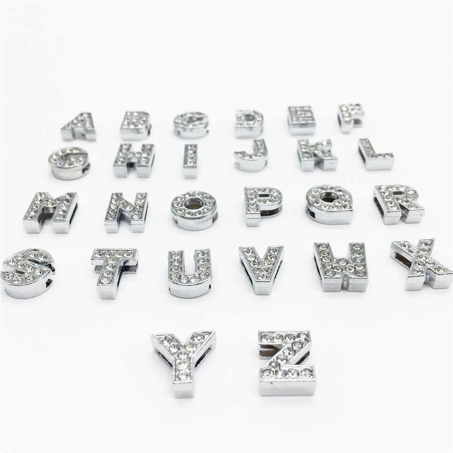 """8MM DIY Prata Completa Strass Letras de Slides """"A-Z"""" Cartas Escolher Livremente Ajuste 8 MILÍMETROS DIY Pulseira Cinto SL01"""