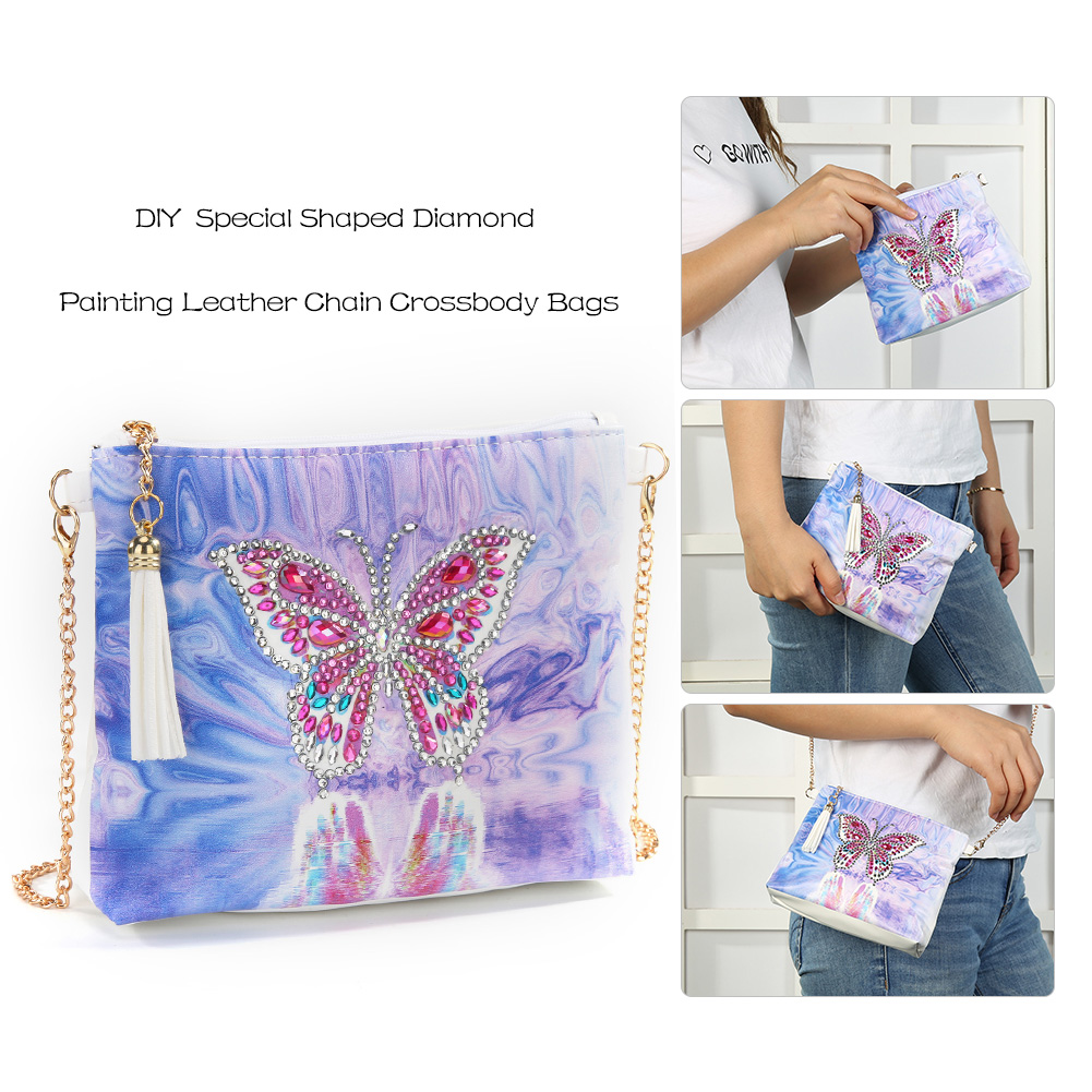 5D Diamond Painting Beautiful Butterfly Flower Peacock Leather Crossbody Chain Bags DIY Diamond Embroidery Bag Purse Pouch