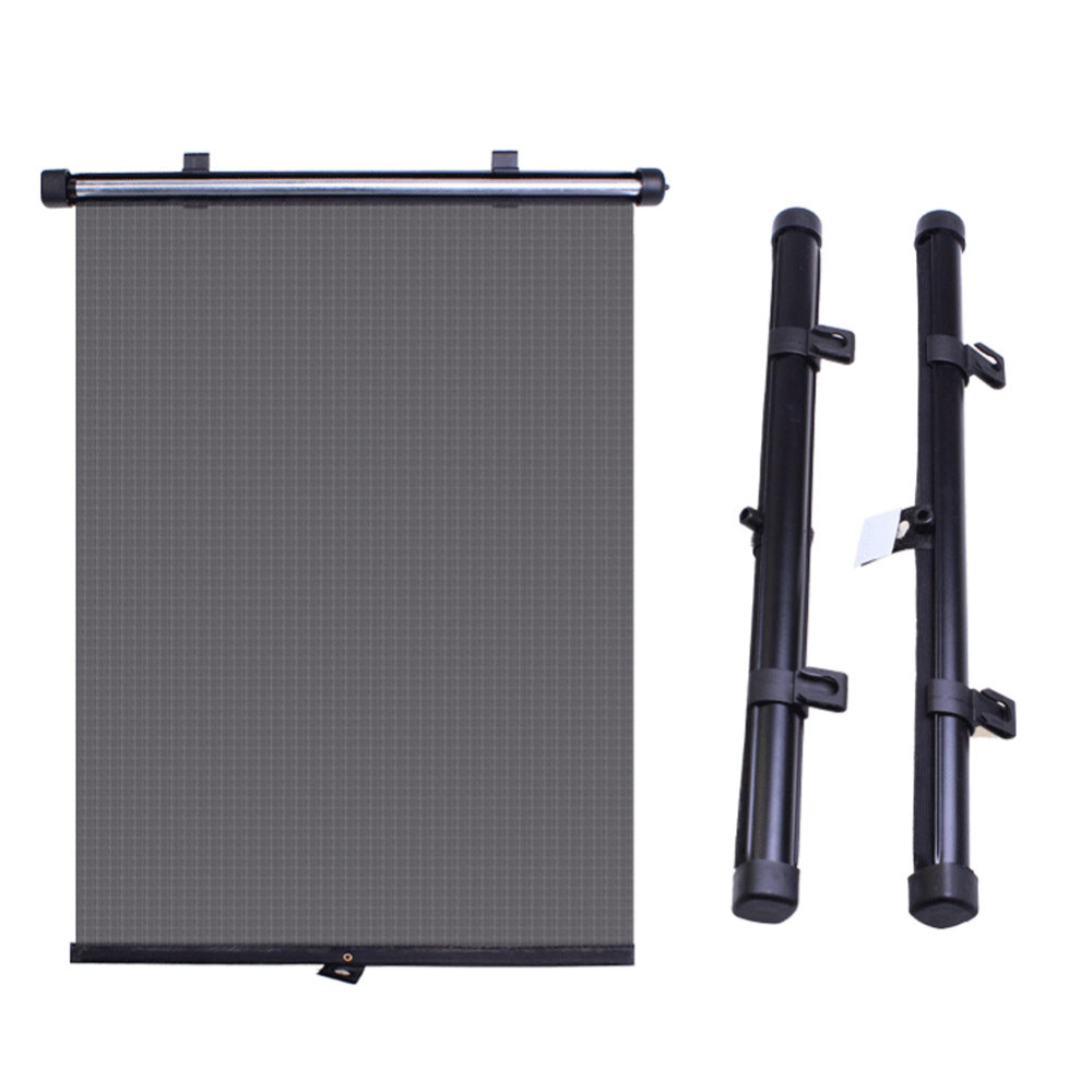 2pcs Shades Roller Blinds Sun Block Durable With Suction Cups Cover Curtain Black Universal Automatic Retractable Car Window